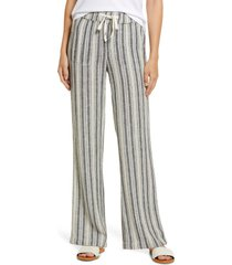 women's caslon stripe linen blend pants, size x-large - ivory