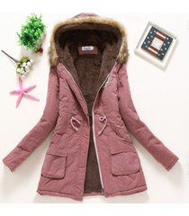winter coat women new dark pink parka casual outwear military hooded thickening