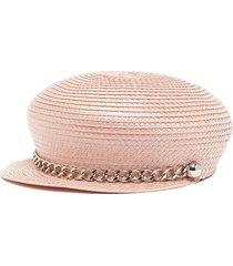 'sabrina' chain straw newsboy cap