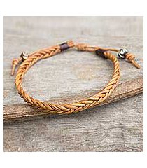men's leather braided bracelet, 'friendship' (thailand)