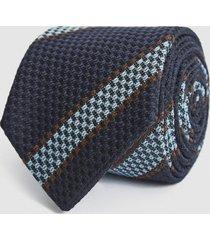 reiss parma - wool blend striped tie in navy/ soft blue, mens