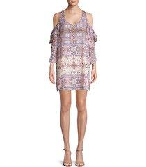 mandala-print cold-shoulder mini dress