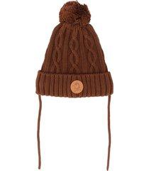 mini rodini cable knit beanie - brown