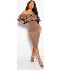bardot layered frill detail midi dress, mauve