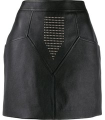 saint laurent studded leather skirt - black