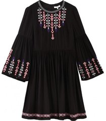 vestido plisado bordado étnico negro nicopoly