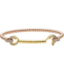 diamond hook mixed gold twist bracelet