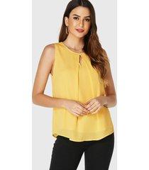 yoins blusa sin mangas con cuello redondo y corte amarillo