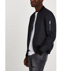 river island mens black washed bomber jacket