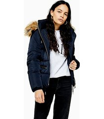 navy detachable faux fur hooded padded puffer jacket - navy blue