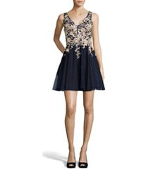 women's xscape gold embroidered fit & flare cocktail dress