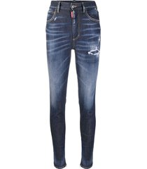 dsquared2 distressed zipped ankle skinny trousers - blue