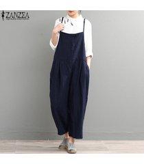 zanzea womens strappy dungaree bib cargo pants jumpsuit largo pantalones overol -azul