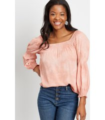 maurices womens pink tie dye smocked blouse
