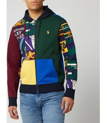 polo ralph lauren men's patchwork hoodie - collegiate patchwork - xl