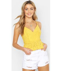 broderie anglaise peplum top, yellow