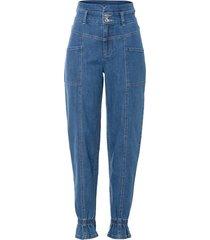 jeans paper bag con impunture modellanti (blu) - rainbow