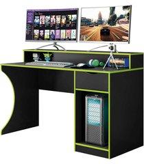mesa gamer safira preto fosco/verde belaflex móveis