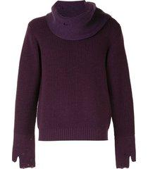 bed j.w. ford rib knit jumper with distressed scarf detail - purple