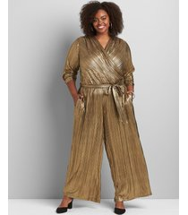 lane bryant women's gold metallic crossover jumpsuit 22/24p gold/black