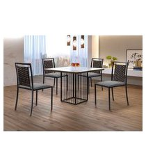 conjunto de mesa de jantar hera com tampo de vidro mocaccino e 4 cadeiras grécia i linho cinza e preto