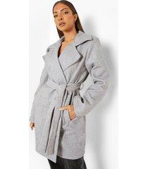 nepwollen jas met ceintuur, grey