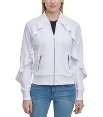 dkny ruffled zip-front sweater jacket