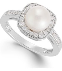cultured freshwater pearl (8mm) and diamond (1/4 ct. t.w.) ring in 14k white gold