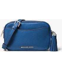 mk borsa per fotocamera convertibile in pelle martellata - grecian blue - michael kors