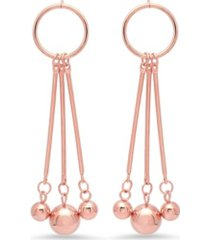 steeltime ladies 18k micron rose gold plated stainless steel circle drop earrings