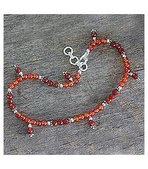 carnelian anklet, 'sunset in jaipur' (india)