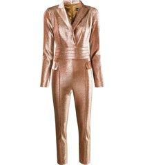 elisabetta franchi lurex glitter jumpsuit - brown