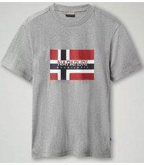 napapijri t-shirt men sovico medium grey melange-s
