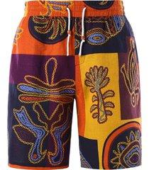 ethnic printed drawstring waist bermuda shorts