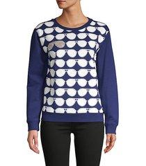 sunglasses-print cotton-blend sweatshirt