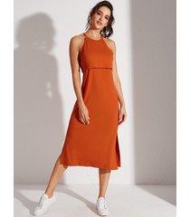 yoins naranja con gradas diseño halter vestido