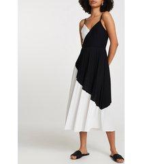 river island womens black colour block pleated midi dress