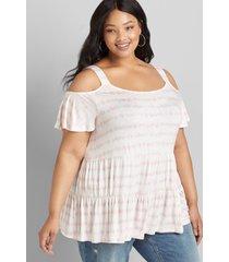 lane bryant women's cold-shoulder peplum max swing tee 30/32 pink tie dye stripe