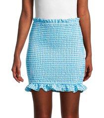 bcbgeneration women's checked ruffled mini skirt - blue - size l
