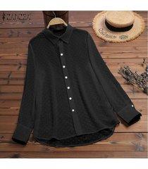 zanzea mujeres botones abajo largo tapas de la camisa señoras flojas de la solapa de tapas de la blusa del tamaño extra grande -negro