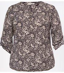 maurices plus size womens black floral double button blouse