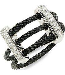 18k white gold, black stainless steel & diamond ring