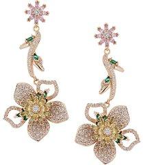 18k goldplated & multicolored crystal flower drop earrings