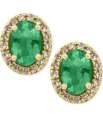 brasilica by effy emerald (7/8 ct. t.w.) and diamond (1/8 ct. t.w.) stud earrings in 14k gold