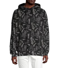 eleven paris men's printed cotton hoodie - black - size xl