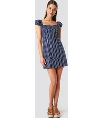 na-kd boho bust detail mini dress - blue