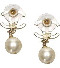 chanel cc faux pearl drop earrings white, black sz: