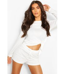 mix & match super soft tie lounge top, white