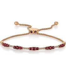 le vian women's 14k strawberry gold®, raspberry rhodolite® & vanilla diamond® bolo bracelet
