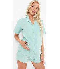 zwangerschap seersucker pyjama set met shorts, soft green